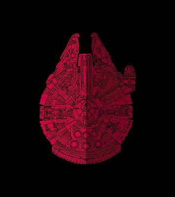 Mixed Media - Star Wars Art - Millennium Falcon - Red, Black by Studio Grafiikka