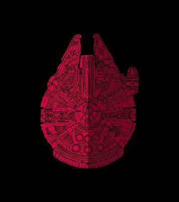 Star Wars Art - Millennium Falcon - Red, Black Art Print