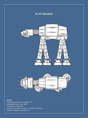 Lucas Photograph - Star Wars - At-at Patent by Mark Rogan