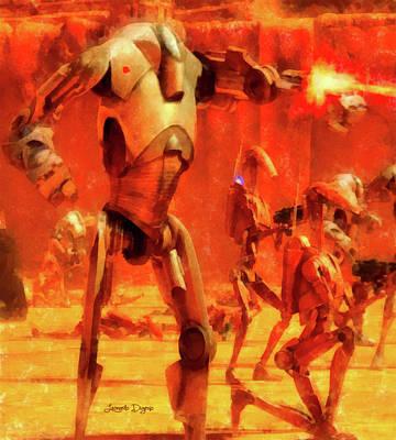 Fighters Painting - Star Wars B2 Battle Droid - Aquarell Style by Leonardo Digenio