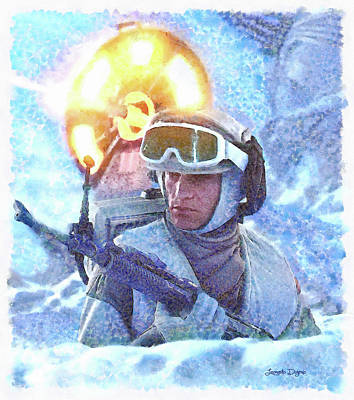 Firing Painting - Star Wars Battle Of Hoth - Watercolor Over Paper by Leonardo Digenio