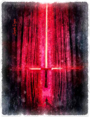Adam Painting - Star Wars Cross by Leonardo Digenio