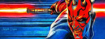 Darth Vader Painting - Star Wars Darth Maul by Leonardo Digenio