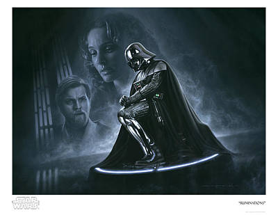 Limited Edition Mixed Media - Star Wars Darth Vader Ruminations Art Print Ltd Ed by Jerry Vanderstelt