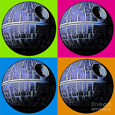 Fan Art Painting - Star Wars Death Star Pop Art by Edward Fielding