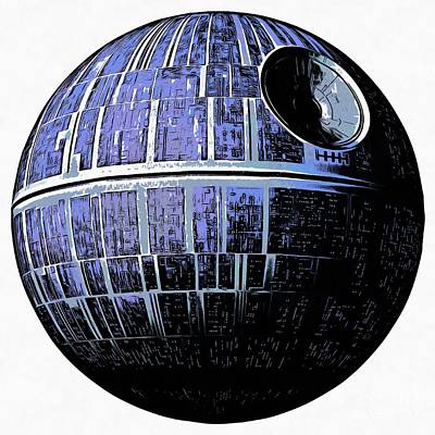 Novel Drawing - Star Wars Deathstar Graphic by Edward Fielding