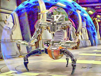 Lightsaber Painting - Star Wars Destroyer Droid - Aquarell Vivid Style by Leonardo Digenio