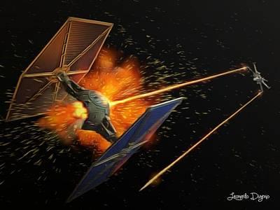 Tie Digital Art - Star Wars Dogfight by Leonardo Digenio