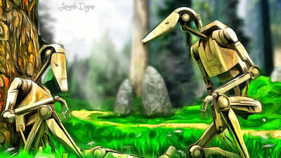 Seated Painting - Star Wars - Droids In Park by Leonardo Digenio