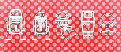 Science Fiction Drawing - Star Wars Droids Mug by Edward Fielding