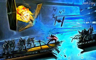 Explosion Digital Art - Star Wars Encurralado - Da by Leonardo Digenio