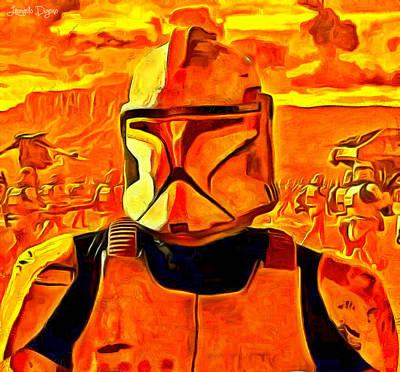 Stormtrooper Painting - Star Wars Field Trooper Commander - Pa by Leonardo Digenio