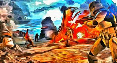 Shot Digital Art - Star Wars Fighters At Battlefield - Da by Leonardo Digenio