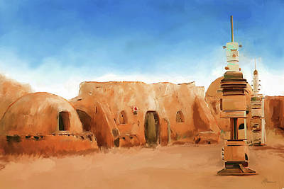 Sand Dunes Painting - Star Wars Film Set Tatooine Tunisia by Michael Greenaway