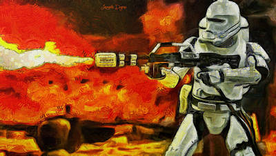 Fire Equipment Painting - Star Wars First Order Flametrooper Firing - Pa by Leonardo Digenio