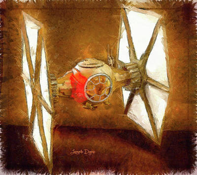 Back Painting - Star Wars First Order Tie Fighter - Pencil Style by Leonardo Digenio