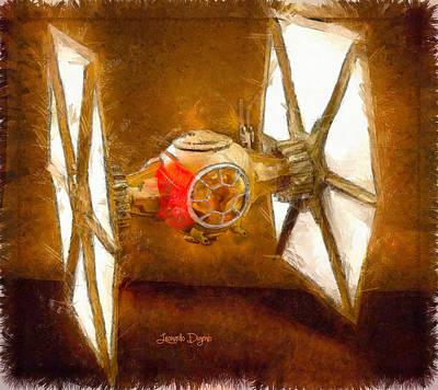Fighters Digital Art - Star Wars First Order Tie Fighter  - Pencil Style -  - Da by Leonardo Digenio