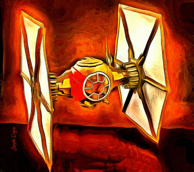 Back Digital Art - Star Wars First Order Tie Fighter  - Van Gogh Style -  - Da by Leonardo Digenio