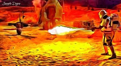 Desert Digital Art - Star Wars Flame-trooper - Da by Leonardo Digenio