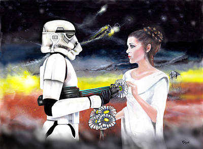 Gun Barrel Painting - Star Wars Flower Power by Anthony Boyle