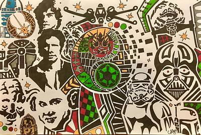 Drawing - Star Wars Good Vs Evil by Jeremiah Colley