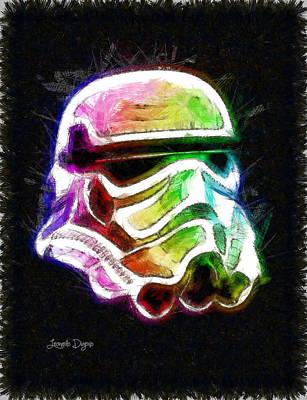 Stylized Digital Art - Star Wars Helmet - Da by Leonardo Digenio