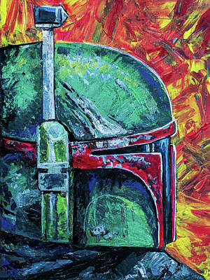 Painting - Star Wars Helmet Series - Boba Fett by Aaron Spong