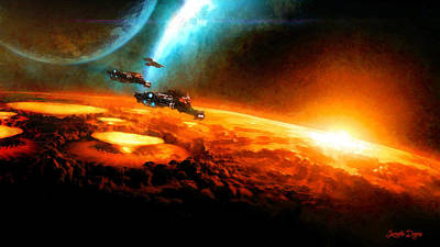 Explosions Digital Art - Star Wars In Space - Da by Leonardo Digenio