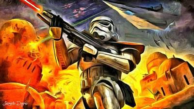 Battles Painting - Star Wars The Invasion by Leonardo Digenio