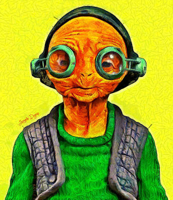 Old Lady Painting - Star Wars Maz Kanata - Pa by Leonardo Digenio