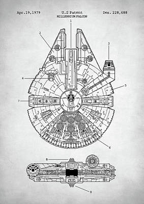 Digital Art - Star Wars Millennium Falcon Patent by Taylan Apukovska