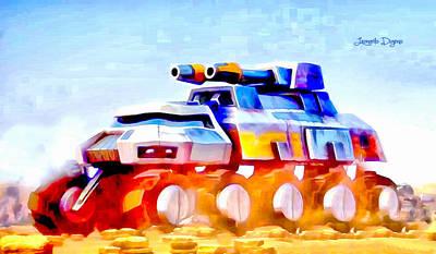 Amphibians Digital Art - Star Wars Rebel Army Armor Vehicle  - Aquarell Vivid Style -  - Da by Leonardo Digenio