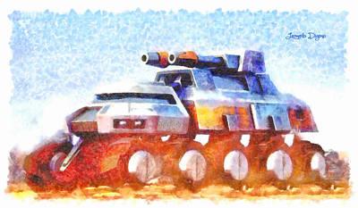 Wheels Digital Art - Star Wars Rebel Army Armor Vehicle  - Watercolor Style -  - Da by Leonardo Digenio