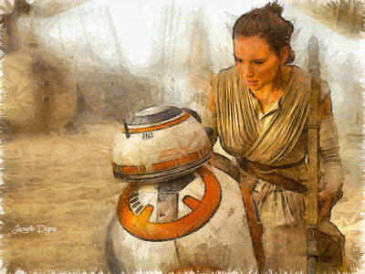 Mid Adult Digital Art - Star Wars Rey And Bb-8  - Pencil Style -  - Da by Leonardo Digenio