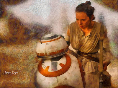Sitting Digital Art - Star Wars Rey And Bb-8  - Wax Style -  - Da by Leonardo Digenio