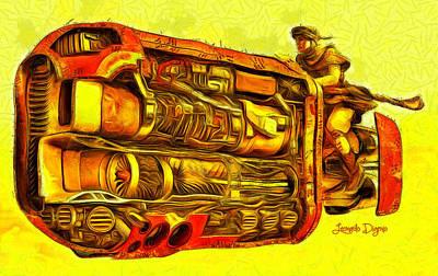 Mechanics Digital Art - Star Wars Rey Speeder - Da by Leonardo Digenio