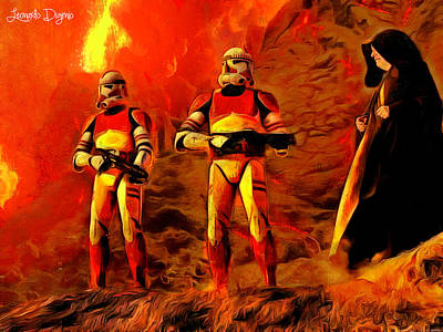 Flames Painting - Star Wars - Searching For Him by Leonardo Digenio