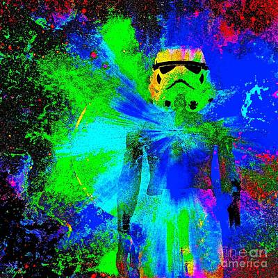Painting - Star Wars Stormtrooper And Light by Saundra Myles