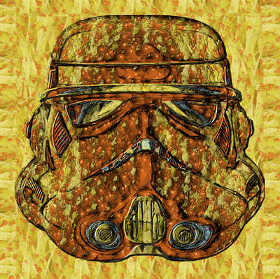Painting - Star Wars Stormtrooper Helmet Graphic Drawing - Doc Braham - All Rights Reserved by Doc Braham