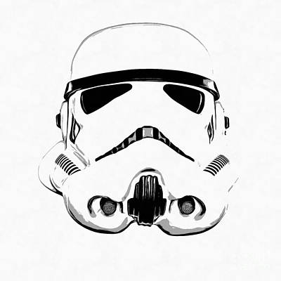 Movie Stars Drawings Drawing - Star Wars Stormtrooper Helmet Graphic Drawing by Edward Fielding