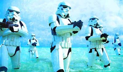 Helmet Digital Art - Star Wars Stormtrooper Patrol - Da by Leonardo Digenio