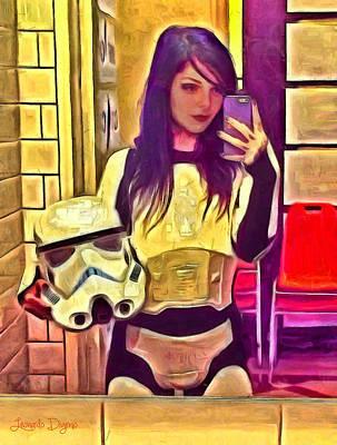 Sides Painting - Star Wars Stormtrooper Selfie by Leonardo Digenio