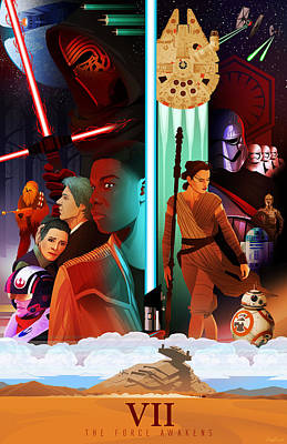Star Wars The Force Awakens Alternative Poster Art Print by Christopher Ables