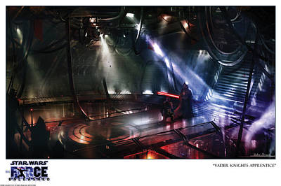 Limited Edition Mixed Media - Star Wars The Force Unleashed Video Game Vader Knights Apprentice Art Print Ltd Ed by Chin Ko