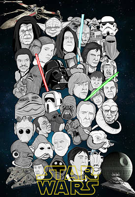 Painting - Star Wars Universe Collage by Gary Niles
