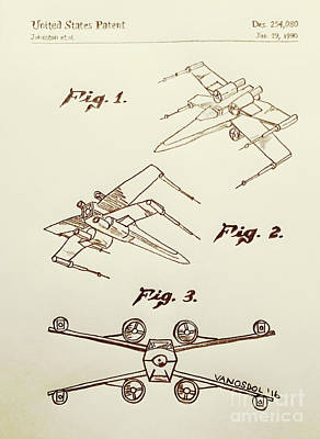 Star Wars X-wing 1980 Us Patent - Sepia Original