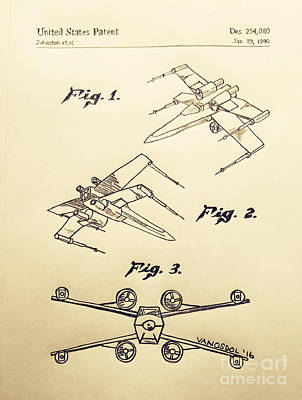 Star Wars X-wing 1980 Us Patent - Vintage Original
