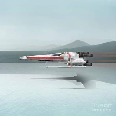 Surreal Digital Art Digital Art - Star Wars X-wing Fighter by Edward Fielding