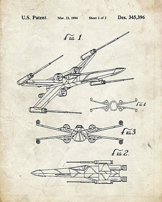 Xwing Digital Art - Star Wars X Wing Fighter Patent by Igor Drondin