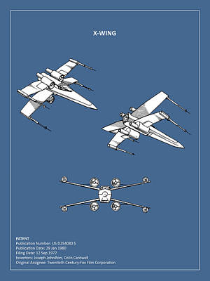 Star Wars - X-wing Patent Art Print by Mark Rogan